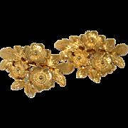 Vintage MUSI Shoe Clips Gold Tone Flowers Leaf Foliage Fashion Retro 1970s