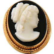 Vintage Cameo Pendant Brooch Pin Black Onyx Stone 12k Gold Filled Designer Signed Van Dell Lady in Profile