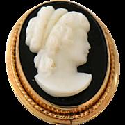Vintage Cameo Pendant Brooch Pin Black Onyx Stone 12k Gold Filled Designer Signed Van Dell Lady in Profile