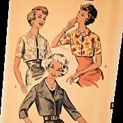 Advance Vintage Sewing Pattern Misses Short Jackets 1950's Original Number 8878 Size 14