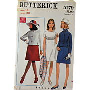 Vintage Dress Jacket Sewing Pattern Butterick 5179 Misses Size 16 Bust 38 Retro 1960s