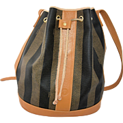 Vintage Fendi Shoulder Bucket Bag Classic Stripe Drawstring Purse Large Tote Handbag Made in Italy