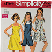 Vintage 1969 Mini Dress Simplicity Sewing Pattern 8196 Pantdress Jumper Miss Size 16 Uncut