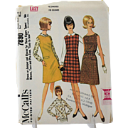 McCalls 7890 Sewing Pattern Misses Dress Jumper Blouse French Darts Size 16 18 Uncut Vintage 1965 Easy