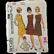 McCalls 7890 Sewing Pattern Misses Dress Jumper Blouse French Darts Size 16 18 Uncut Vintage 1965 Easy