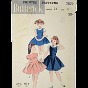 Vintage 1940s Butterick Sewing Pattern 7879 Jumper Blouse Dress Girls Size 4 Children