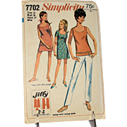 Vintage Simplicity 7702 Jiffy Sewing Pattern Mini Dress Blouse Pants Shorts Women Miss Size 14 Uncut