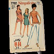 Vintage Simplicity 7702 Jiffy Sewing Pattern Mini Dress Blouse Pants Shorts Women Miss Size 14 Uncut