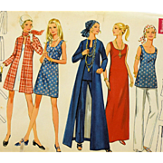 Retro 1960s Butterick 5598 Sewing Pattern Mod Dress Blouse Top Tunic Coat Pants Miss Size 14 Uncut Vintage