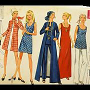 Vintage 1960s Butterick 5598 Sewing Pattern Mod Dress Blouse Top Tunic Coat Pants Miss Size 14 Uncut