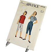 Advance 6930 Vintage Sewing Pattern Girls Shirt Tapered Pants Size 10 Children Classic Mid Century Modern 1954 Fashion