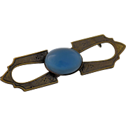 Art Deco Brass Brooch Blue Moonstone Cabochon Antique Pin circa 1915-35