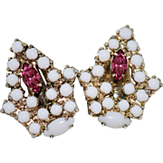 Vintage Milk Glass Rhinestone Clip Earrings Gold Tone