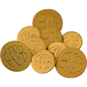 Ben Silver Blazer Buttons 14k Gold Fill Satin Finish Monogrammed Set of 9