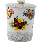 Vintage English Candy Tin Canister Butterflies Flowers Made In England Cookie Biscuit Container Butterfly