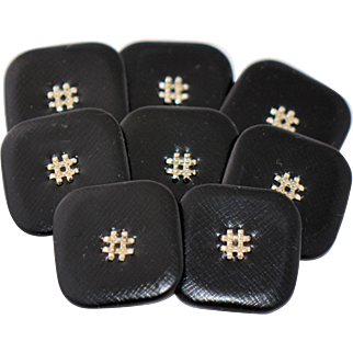Eight Vintage Couture Black Leather Covered Buttons Silver Embellished Centers Painted Metal Backs