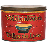 Vintage Advertising Tin Mackintosh Toffee de Luxe Oval Junior Red Paint Gold Gilt Royal Seal