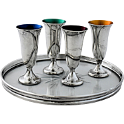 Vintage Gorham Sterling Silver Tray Cordials Set of 4 Colored Green Blue Numbered 951 and 1320