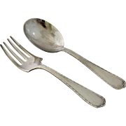 Vintage Sterling Silver Baby Fork Spoon Set Classic Design Infant Flatware in Original Box