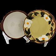 Vintage Stangl Pottery White Dogwood Lug Soup Bowl and Under Plate Salad Bread