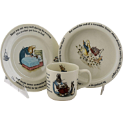 Vintage Beatrix Potter Peter Rabbit Nursery Set by Wedgwood Made in England Bowl Plate Cup Mug