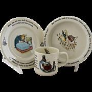 Vintage Beatrix Potter Peter Rabbit Nursery Set by Wedgwood Made in England Bowl Plate Cup Mug