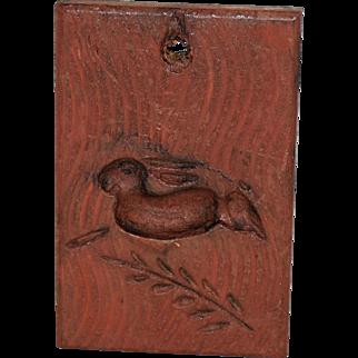 Vintage Primitive Folk Art Treenware Rabbit Butter Cookie Mold Press Hand Carved Wooden