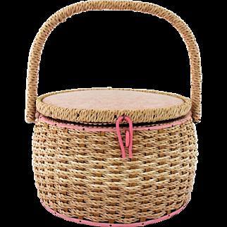 Vintage Dritz Wicker Sewing Basket Swing Handle Pink Quilted Pin Cushion Original Insert Needlework Storage Box