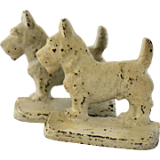 Vintage Terrier Dog Bookends Cold Painted Metal White Scottish Scottie West Highland Westie