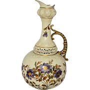 Rudolstadt German Porcelain Pitcher Urn Hand Painted Flowers Gold Gilt Ornate Reticulated 14 Inches