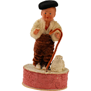 Vintage German Composition Doll Candy Box Shepherd Boy Lamb Chenille Dress Felt Beret Hat