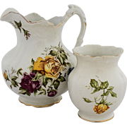 Antique Buffalo Pottery Water Pitcher Vase Transferware Yellow Purple Violet Rose Flowers