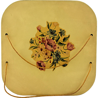 Vintage Sewing Basket by Harvey Floral Decal Yellow Enamel Painted Wooden Top Cord Handle