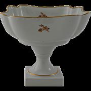 Vintage Limoges France Porcelain Compote Centerpiece Fruit Bowl Gold Gilt Floral Bouquet Pedestal Square
