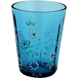 Victorian Blue Glass Tumbler by Northwood Panel Optic Pattern Glass Tumbler Antique circa 1904-06