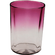Victorian Cranberry to Clear Glass Tumbler Panel Optic Valentines Day Gift