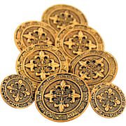 Vintage Brass Metal Sewing Buttons Embossed Fleur De Lis Astrological Signs Zodiac Wheel