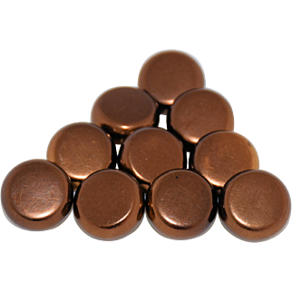 Vintage Copper Metal Sewing Buttons Brass Backs Square Shank Set of 10