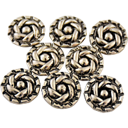 Vintage Silver Metal Sewing Buttons Swirled Flower Self Shank Set of Eight