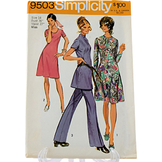 Vintage Simplicity 9503 Sewing Pattern Dress Tunic Bell Bottom Pants Size 14 Copyright 1971