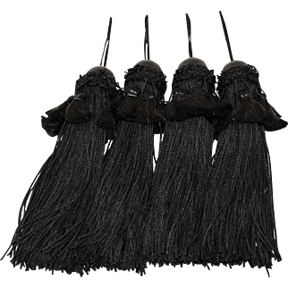 Four Black Tassels Large Wooden Bead Fringe 10 Inches Long Curtain Tiebacks