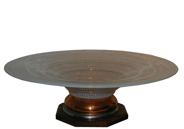 Unusual Art Deco Opalescent Glass Centerpiece Bowl w Macassar & Copper Base