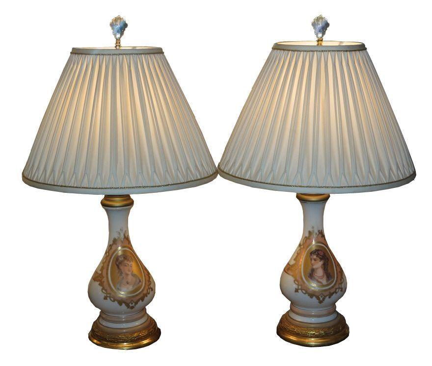 Pair of Antique Baccarat Opaline Glass Portrait Lamps