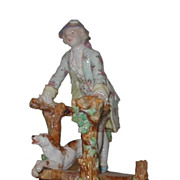 Antique German Porcelain Figure of Dandy w Dog