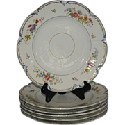 Set of 6 Early Antique English Porcelain Luncheon Plates From The Rowena Willis Estate