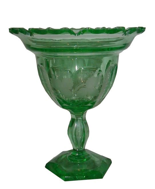 Superb & Unusual Antique Hawkes Green Uranium Glass Compote