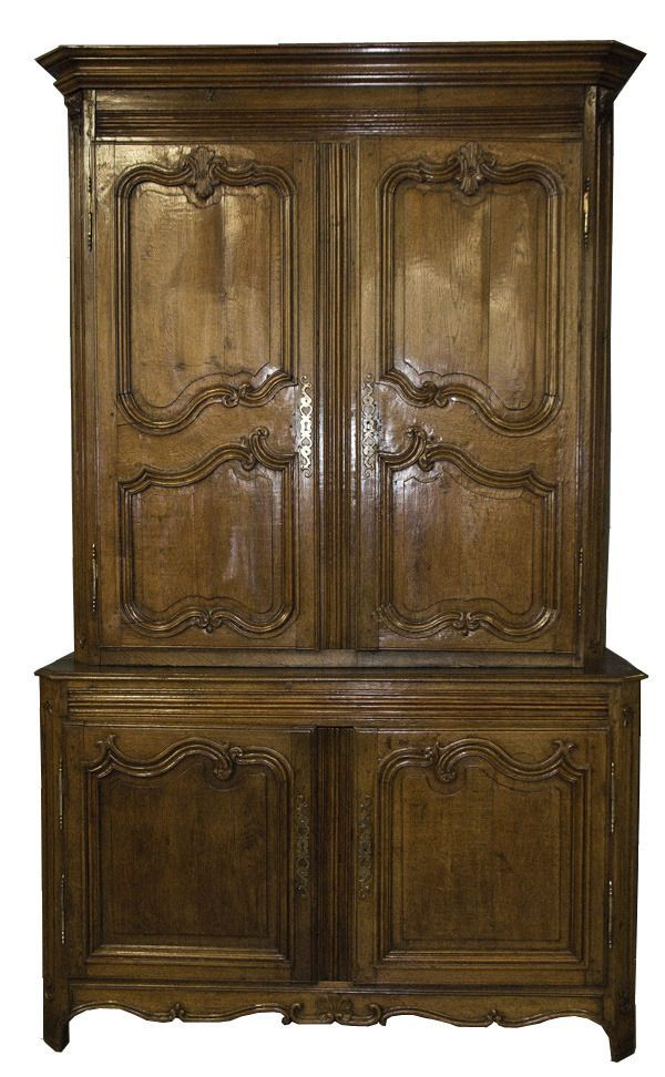 Antique Regence Provincial Carved Oak Buffet a Deux Corps