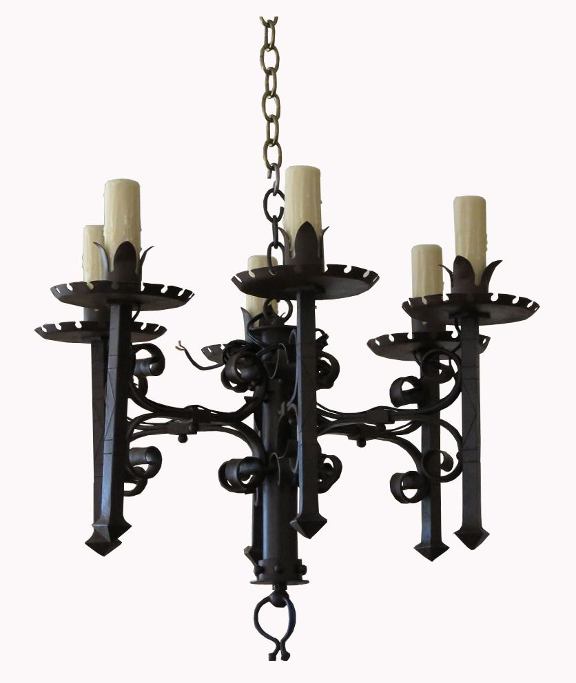 Antique 19th C French Wrought Iron Chandelier