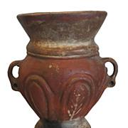 Unusual Antique Primitive Pottery Urn Vase with Traces of Original Paint