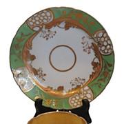 Fabulous Antique Coalport Green & Gold Cup & Saucer Trio c.1820